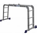 Лестница-трансформер универсального назначения. Может использоваться как стремянка или приставная лестница, а также как рабочий помост в том числе для работы на лестничных маршах. Выполнена из алюминия, оснащена 6 стопорными шарнирами, которые автоматически заходят в паз, и ножками, предотвращающими скольжение. Компактна в сложенном состоянии и функциональна в применении.  Длина лестницы3,54 м Высота стремянки1,77 м Количество секций4 Количество ступеней в секции3  Максимальная нагрузка100 кг Транспортные габариты0,94х0,7х0,26 м Масса10,8 кг