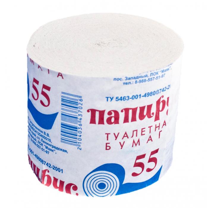 Бумага туалетная однослойная, без перфорации. Изготовлена из макулатуры.